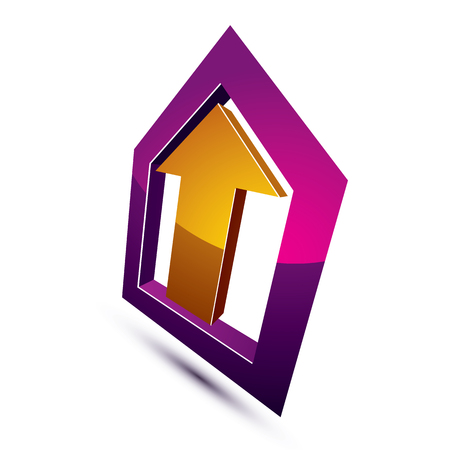 prosperity: 3d abstract symbol with an arrow. Business growth and prosperity concept vector design element, innovations theme icon. Illustration
