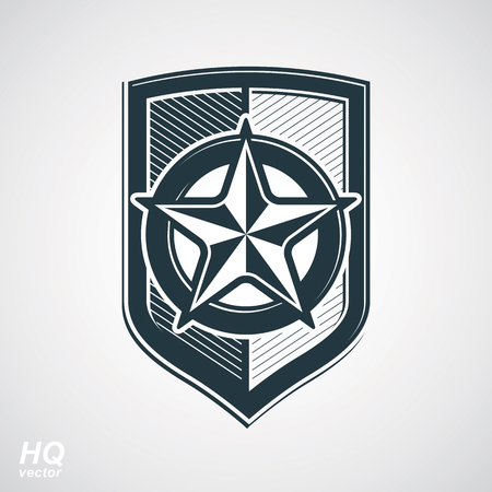 socialism: Vector shield with pentagonal Soviet star, protection heraldic blazon. Communism and socialism conceptual symbol. Ussr design element. Illustration