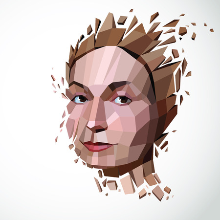 Vector dimensional low poly female portrait, graphic illustration of human head broken into fragments. 3d demolished object created with fractures and different particles. Illustration