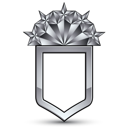 relic: Branded gray geometric symbol with five stylized silver stars, best for use in web and graphic design, corporate vector silvery icon isolated on white background.