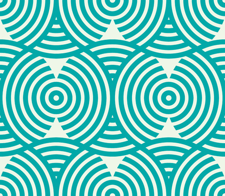 intertwine: Vector geometric seamless pattern, abstract endless composition created with overlay curls and circles. Colorful background with intertwine curves. Illustration
