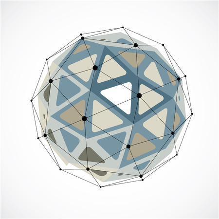 Perspective technology shape with black lines and dots connected, polygonal wireframe object. Abstract gray faceted element for use as design structure on communication technology theme