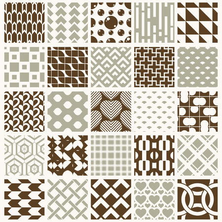 Set of vector endless geometric patterns composed with different figures like rhombuses, squares and circles. 25 graphic tiles with ornamental texture can be used in textile and design. Illustration