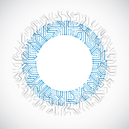high tech: Vector abstract colorful technology illustration with round blue circuit board. High tech circular digital scheme of electronic device.