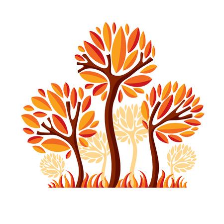 Art fairy illustration of tree, stylized eco symbol. Insight vector image on season idea, beautiful picture. Illustration