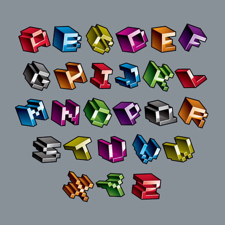 Cybernetic 3d alphabet letters, pixel art vector digital typescript. Pixel design elements, contemporary dotted font made in technology style.