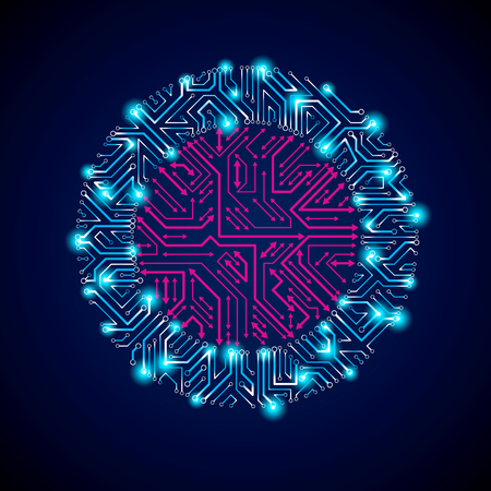 multidirectional: Vector abstract computer glare circuit board, blue round technology element with connection arrows and neon lights. Electronics theme web design abstraction. Illustration