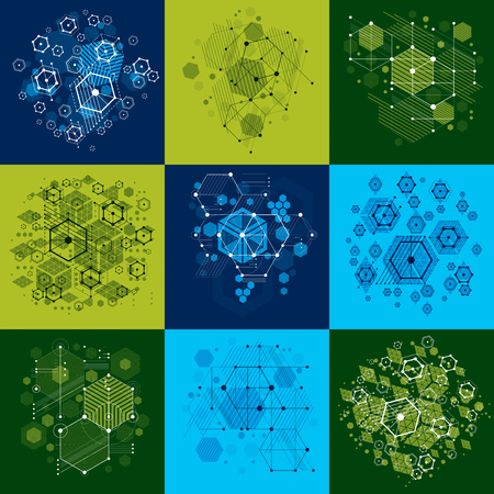 overlie: Set of modular Bauhaus vector backgrounds, created from simple geometric figures like circles and hexagons. Best for use as advertising poster or banner design.