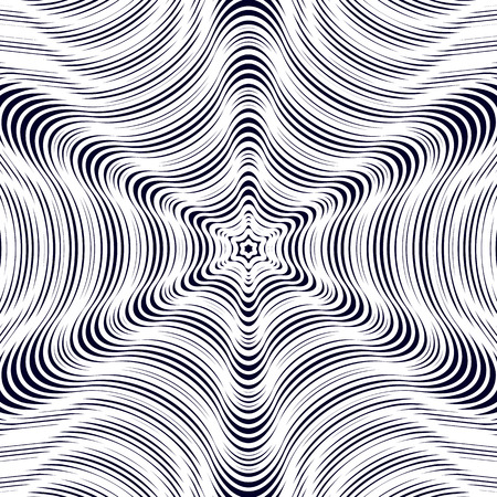 trance: Illusive vector background with black chaotic lines, moire style. Contrast geometric trance pattern, optical backdrop. Illustration