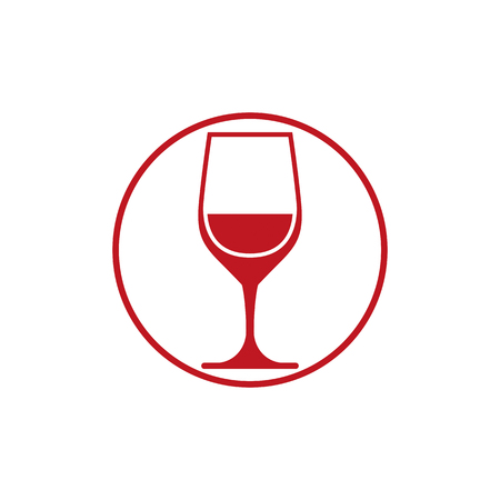 rendezvous: Winery theme, classic wine goblet isolated on white. Wine degustation conceptual symbol, design element.