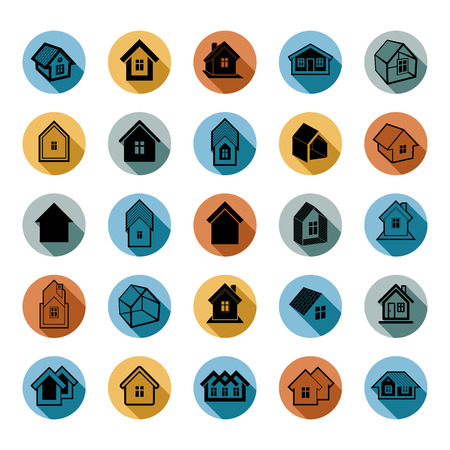 Different houses icons for use in graphic design, set of mansion conceptual symbols,vector abstract property images. Real estate business abstract emblems collection.