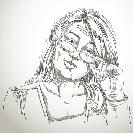 inspecting: Artistic hand-drawn vector image, black and white portrait of delicate stylish girl with eyeglasses. Emotions theme illustration, business woman looks inspecting and curious at somebody.