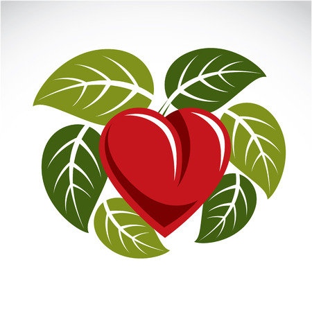 Beautiful red heart surrounded with green spring leaves. Care about nature idea, ecology conservation theme vector graphic symbol. Illustration