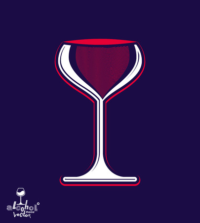 revelry: Beautiful vector sophisticated pink wine goblet, stylish alcohol theme illustration. Artistic wineglass, romantic rendezvous idea. Lifestyle graphic design element. Illustration