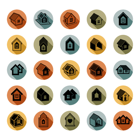 locality: Houses abstract icons, can be used in advertising and as branding in real estate business and construction. Set of simple buildings,  architecture theme vector graphic symbol. Room for the newlyweds.