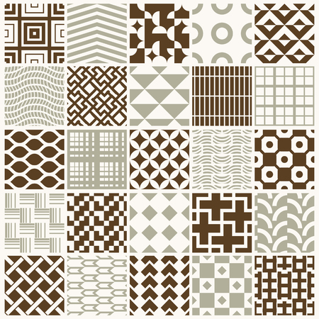 Graphic ornamental tiles collection, set of vector repeated patterns. 25 vintage art abstract textures can be used as wallpapers.