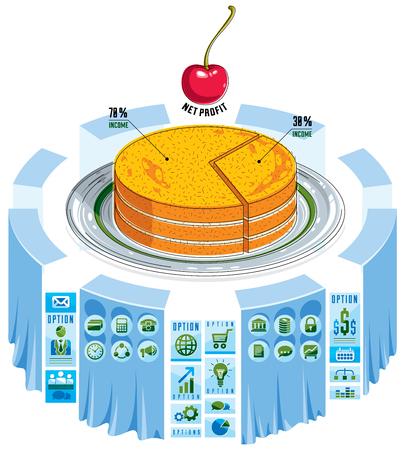 Infographics template, piece of pie idea, vector illustration.