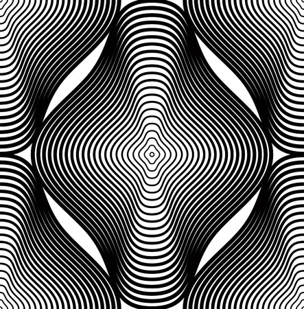 Continuous vector pattern with black graphic lines, decorative abstract background with geometric figures. Monochrome ornamental seamless backdrop, can be used for design and textile.