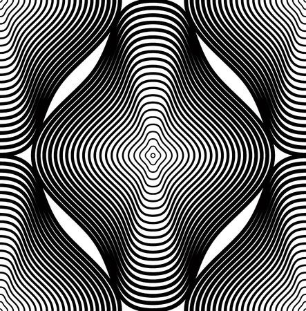 figuras abstractas: Vector patrón continuo con líneas gráficas negro, fondo abstracto decorativo con figuras geométricas. Monocromo ornamental telón de fondo sin fisuras, se puede utilizar para el diseño y el textil.