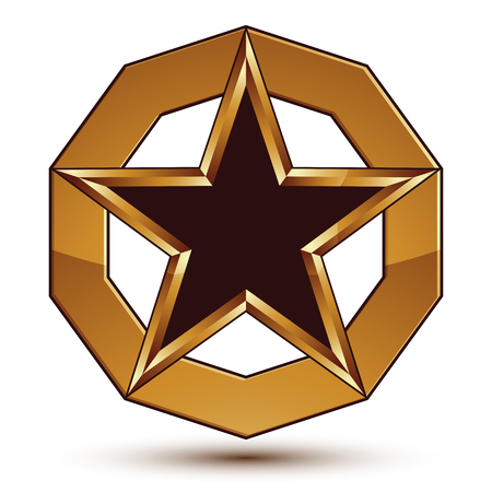 Vector stylized symbol isolated on white background.  Glamorous black star with golden outline, clear EPS 8, pentagonal insignia.