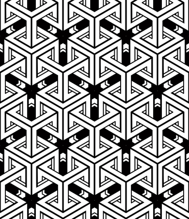 illusory: Regular contrast endless pattern with intertwine three-dimensional figures, continuous illusory geometric background. Illustration