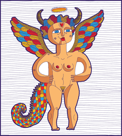 Vector illustration of bizarre creature, nude woman with wings, animal side of human being. Goddess conceptual hand drawn allegory image, saint idol colorful drawing.