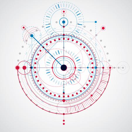 dibujo tecnico: Dibujo técnico realiza mediante líneas de puntos y círculos geométricos. Azul y rojo del vector fondo de pantalla creado en el estilo de la tecnología de las comunicaciones, el diseño del motor.