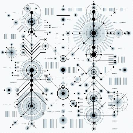 dibujo tecnico: Dibujo t�cnico con l�neas de trazos y formas geom�tricas, papel tapiz de vectores tecnolog�a futurista, proyecto de ingenier�a.