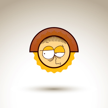 personality: Vector graphic art drawing of kid face, hand drawn cute girl with stylish haircut. Social network theme illustration. Human emotions idea.