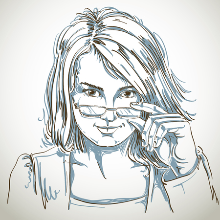 flirting: Vector drawing of sexy business woman with stylish haircut and eyeglasses. Black and white portrait of attractive smart flirting lady.