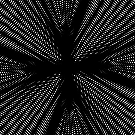 hypnotherapy: Optical illusion, creative black and white graphic moire backdrop. Decorative lined hypnotic contrast vector  background.