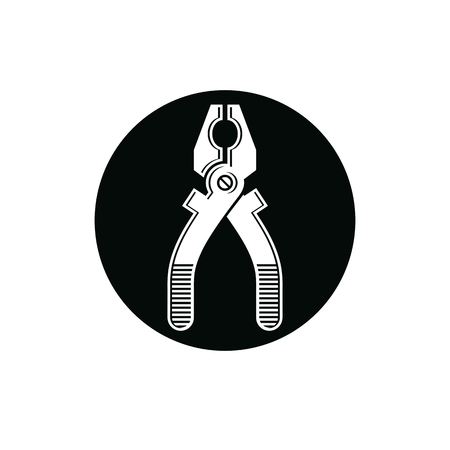 work tool: Detailed illustration of pliers, work tool. Industry utensil vector symbol placed in a circle, for use in advertising and web design.