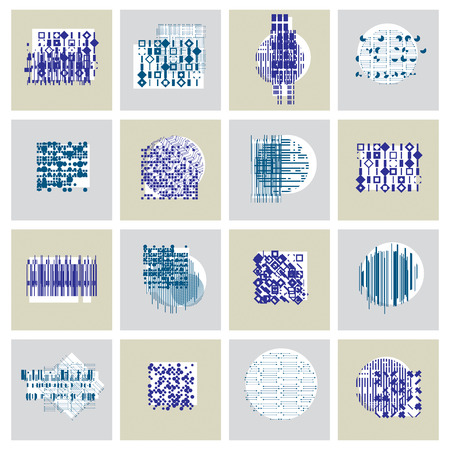Abstract graphic arts set, vector geometric illustrations collection.