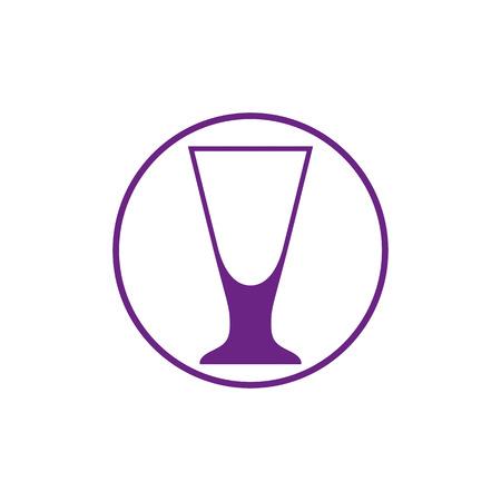 Alcohol drinken thema pictogram, cocktailglas geplaatst in cirkel. Kleurrijk bar en cafés merkembleem.