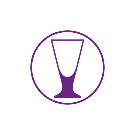 Alcohol beverage theme icon, cocktail glass placed in circle. Colorful bar and cafes brand emblem.