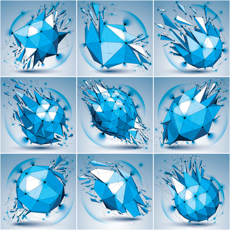 radiance: Set of abstract 3d faceted radiance blue figures with connected black lines and dots. Vector low poly shattered design elements with fragments and particles. Explosion effect, lens circles. Illustration