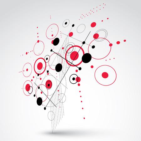 perspectiva lineal: composición Bauhaus arte tridimensional, la perspectiva de fondo rojo vector modular con círculos y rejilla. patrón de estilo retro, telón de fondo gráfico para su uso como plantilla de la cubierta folleto.