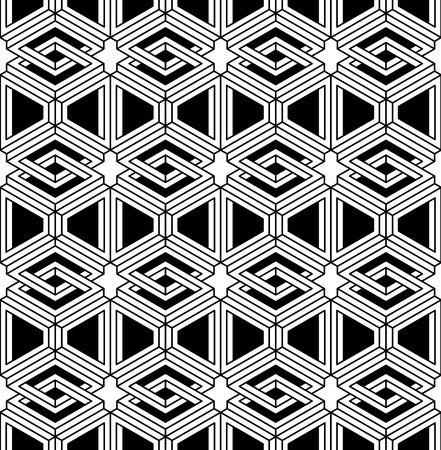 superimpose: Black and white illusive abstract geometric seamless 3d pattern. Vector stylized infinite backdrop, best for graphic and web design.