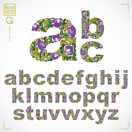 typescript: Floral font, hand-drawn vector lowercase alphabet letters decorated with botanical pattern. Green ornamental typescript, vintage design lettering. Illustration
