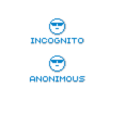 beings: Anonymous personality wearing eyeglasses. Vector retro sign made in pixel art style. Geometric pixilated symbol.