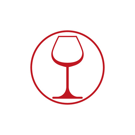 winery: Winery theme, classic wine goblet isolated on white. Wine degustation conceptual symbol, design element.