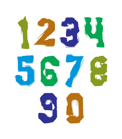 Handwritten colorful vector freak numbers, stylish digits set drawn with ink brush. Illustration
