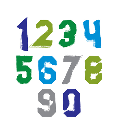 Freak colorful graffiti digits, set of vector unusual numbers drawn with real ink brush. Illustration