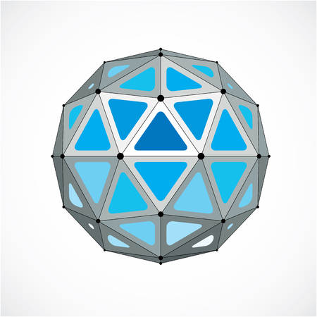 Vector dimensional wireframe low poly object, blue spherical shape with black grid. Technology 3d mesh element made using triangular facets for use as design form in engineering.
