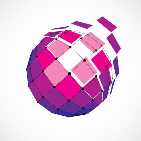 3d vecteur low poly objet sphérique avec des lignes noires connectés et des points, la forme de wireframe pourpre géométrique. Perspective facette orbe créée avec des carrés.