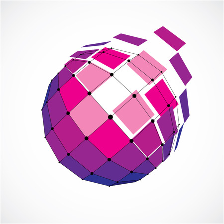 3d vector low poly spherical object with black connected lines and dots, geometric purple wireframe shape. Perspective facet orb created with squares.