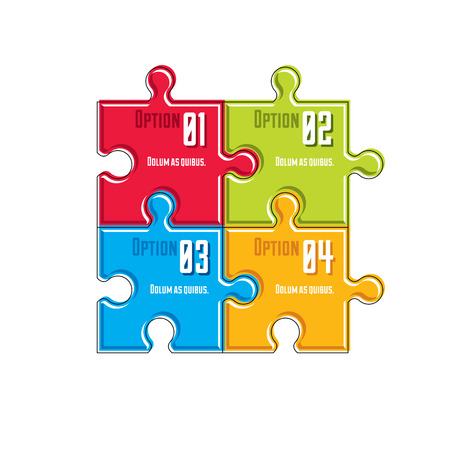 Puzzle elements infographic composition, layout of jigsaw puzzles for visual presentation of options.