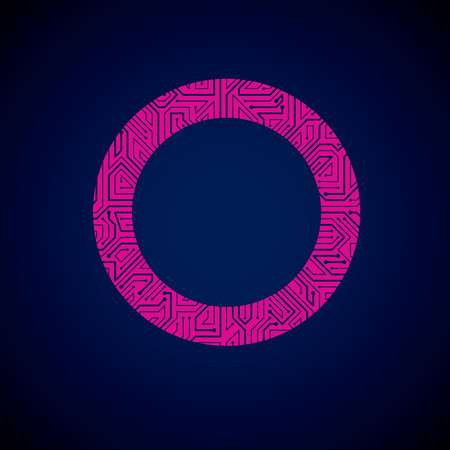 high tech: Vector abstract technology illustration with round blue and magenta circuit board. High tech circular digital scheme of electronic device.