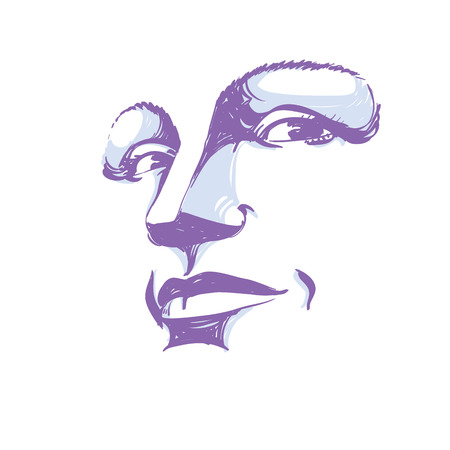 concerned: Facial expression, hand-drawn illustration of face of girl with emotional expressions. Beautiful features of lady visage. Sorrowful woman, sad mask. Illustration