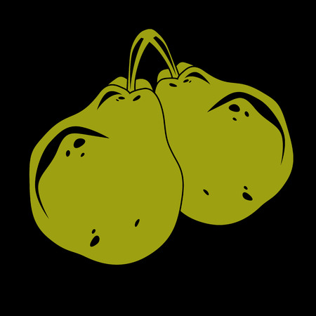 fertility emblem: Harvesting symbol, vector fruits isolated. Two organic green sweet pears, healthy food idea design icon. Illustration